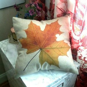 🔥Fall Leaf Square Accent Pillow - Natural Beige🔥